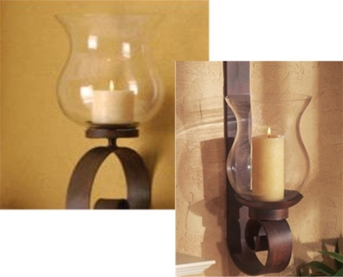 Wall Sconce Replacement Hurricane Glass : Wrought iron candle wall sconce - Scroll Wall Hurricane Lantern Replacement Glass