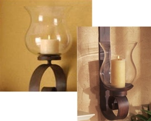 Wrought Iron Candle Wall Sconce Scroll Wall Hurricane