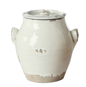 White Terracotta Pot with Lid