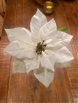 "9.5"" White Faux Poinsettias - Decorative Artificial Poinsetta Stems"