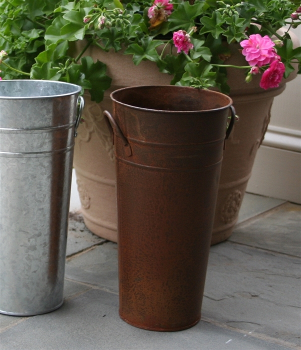 French flower bucket quot rust metal florist containers
