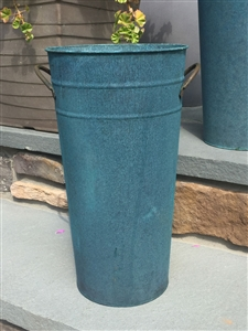 Vintage Weathered French Flower Bucket Verdigris 15