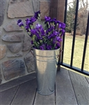 Galvanized French Flower Bucket 13""