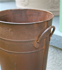 "Mini French Metal Flower Bucket - 7"" Rust"