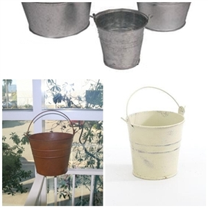 Tiny Tin Flower Bucket Metal Florist Containers Small