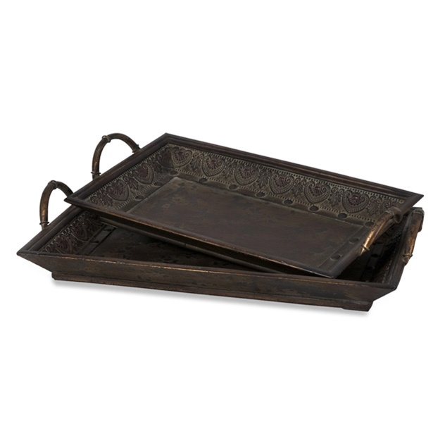 Embossed Metal Amp Wood Cocktail Ottoman Tray Serving Tray