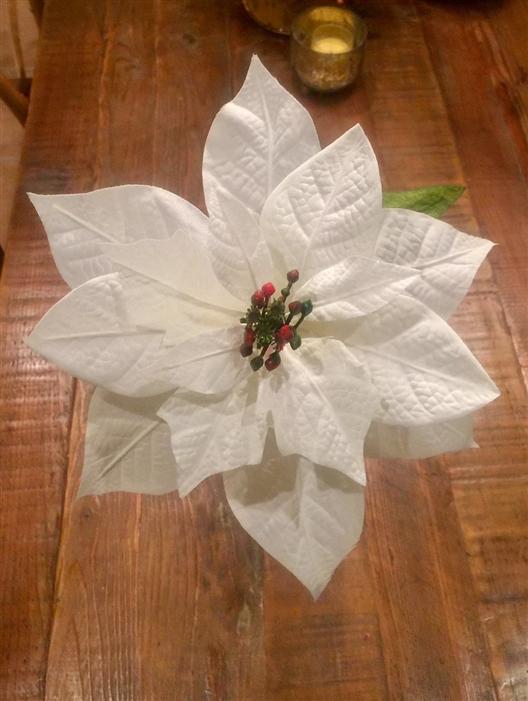 9 5 White Faux Poinsettias Decorative Artificial Poinsetta Stems Oversized Christmas Decorations