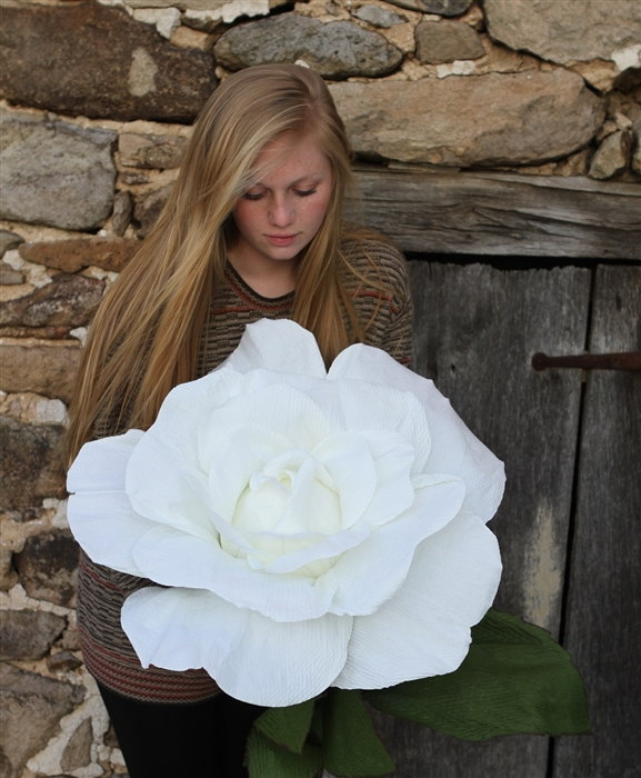 Giant White Paper Rose Oversized Decorative Flower Bridal And