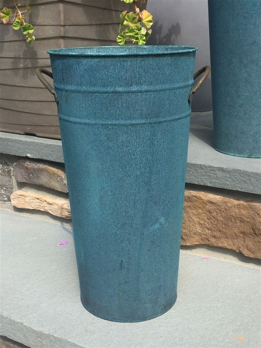 weathered copper metal vintage weathered french flower bucket verdigris 15 tall