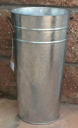 Galvanized French Flower Bucket Umbrella Stand 22 Tall Metal