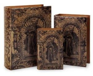 Nesting Wooden Book Boxes Faux Vintage Decorative Books