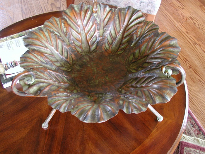 Metal Leaf Decorative Bowls Large Cocktail Table Display