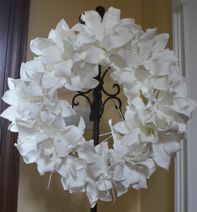 White foam flower wreath permanent floral wedding decoration larger photo email a friend mightylinksfo Images