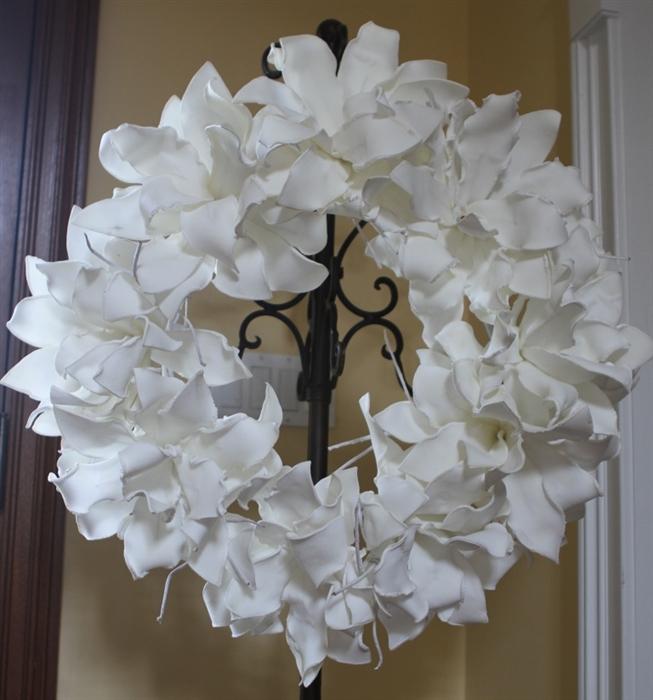 White Foam Flower Wreath Permanent Floral Wedding Decoration
