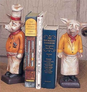 Delicieux French Country Kitchen Chef Pig Bookends